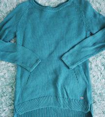 Türkiz kötött pulóver