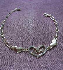 Love feliratos aranyozott szív karkötő karlánc