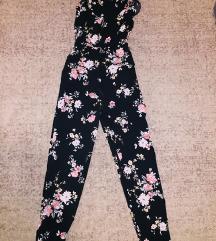 Virágos pántos overal/jumpsuit