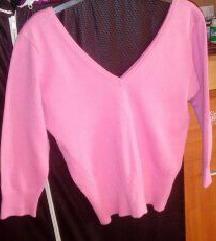 rózsaszín mélyen kivágott kötött pulcsi