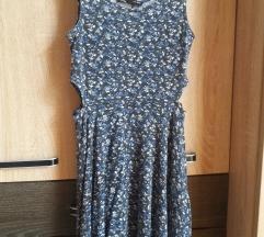 Egyszer viselt szürke, kék virágos Sinsay ruha