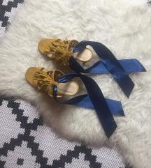 Bershka mustár-kék szalagos magassarkú szandál