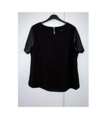 Műbőr ujjú póló T-shirt