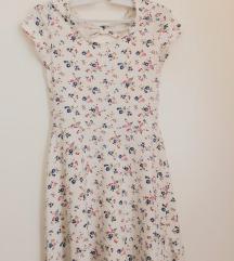 Nyári mini virágmintás fehér ruha Clockhouse