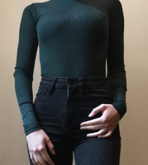 Fenyőzöld bordázott hosszú ujjú body
