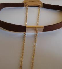 LEÁRAZVA ÚJ choker nyaklánc - barna-arany