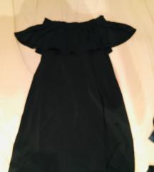 Mohito fekete fodros vállnélküli ruha