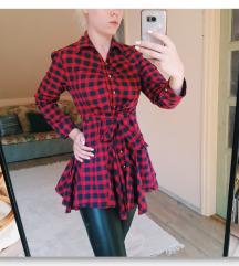 Piros kockás megkötős hosszított ing tunika S/M