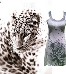 NO EXCUSE Csillogó,waterfall,leopárd ruha tunika
