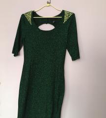 Elegáns zöld csillogó ruha