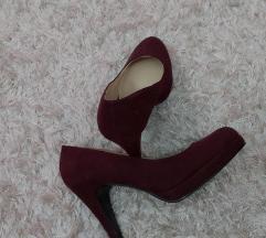Bordó velúr platform cipő 37