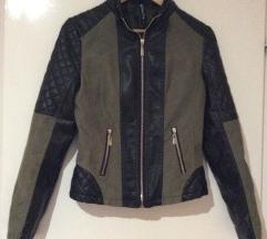 Fekete-zöld bőr-velúr dzseki