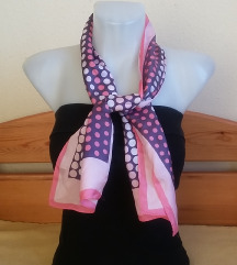 Rózsaszín-fehér-lila pöttyös sál, 24,5/110 cm