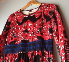 Piros-kék mintás maxi ruha