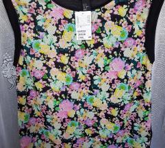 H&M fekete virágos rövidujjú felső top(ingyen post