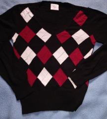 Fekete - bordó mintás pulóver
