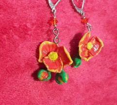 Csodaszép virágfülbevaló Új,narancs