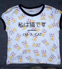 Pull&Bear japán maneko cicás póló