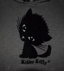 Killer Kitty szürke hoodie (macskás pulcsi)
