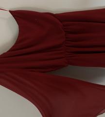 Bordó félvállas jersey alkalmi ruha