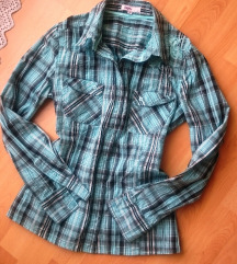 Menta/szürke kockás új ing S