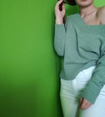 V kivágású kötött koptatott-zöld pulcsi