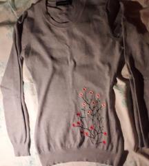 S-es szürke virágos kötött kerek nyakú pulóver