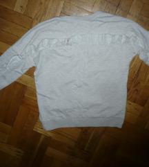Janina Kik fodros bézs pulóver M új