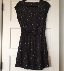 H&M fekete alapon fehér csillag mintás ruha