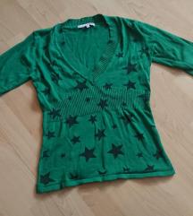 Zöld tally pulcsi fekete csillagokkal