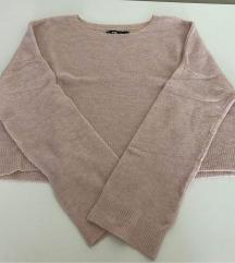 Rózsaszín rövid fazonú kötött pulóver L