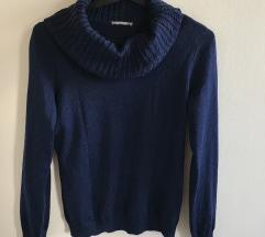 garbós mélykék színű pulóver
