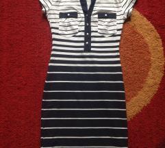 Kék-fehér csíkos patentis galléros ruha