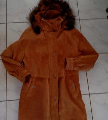 C&A, női, velúrbőr, kapucnis télikabát, 42-es