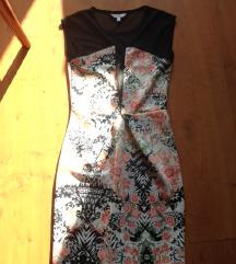 ÚJ! New Look mintás fekete átlátszó betétes ruha