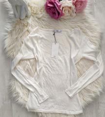 Címkés Mango fehér finomkötött vékony pulóver S