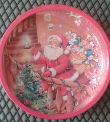 Új fém karácsonyi tálka, tál