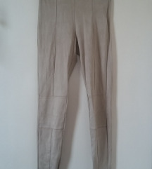 Bershka drapp velúr hatású leggings, M-es (28-as)