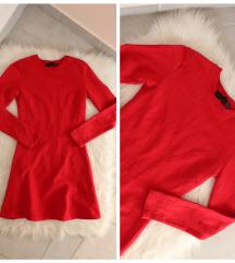 ZARA piros pulóver anyagú ruha