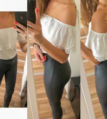 Fehér felső, bőr hatású leggings