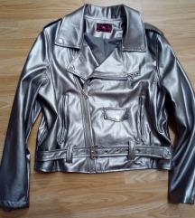 L méretű ezüst műbőrkabát