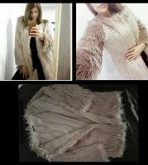 Bézs/Rózsaszín  árnyalatú műszőrme kabát(vékony)