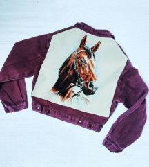 Vintage bordó farmerdzseki, lovas háttal, ONESIZE
