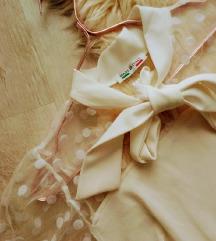 Olasz pöttyös tüll betétes sálgalléros ruha S/M