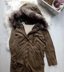 Zara kivehető bélésű szőrmés parka XS