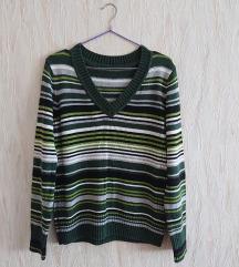 zöld csíkos kötött pulcsi
