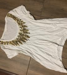 Gas fehér-arany felső póló tunika flitteres