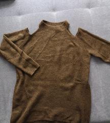 New Look khaki nyitott vállú pulóver