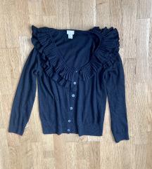 H&M fekete fodros kardigán pulóver 36