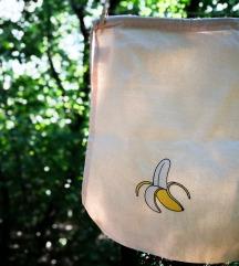 Új, banán mintás nyári vidám hímzett tornazsák